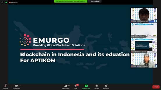 Paparan Materi pada RAKORNAS APTIKOM tentang Blockchain in Indonesia and its Eduation For APTIKOM Oleh EMURGO (Providing Global Blockchain Solutions)