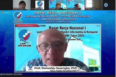 Gambar 2. Paparan  Materi Rakornas 1 LAM INFOKOM  Oleh Ketua Majelis Akreditasi BAN PT.